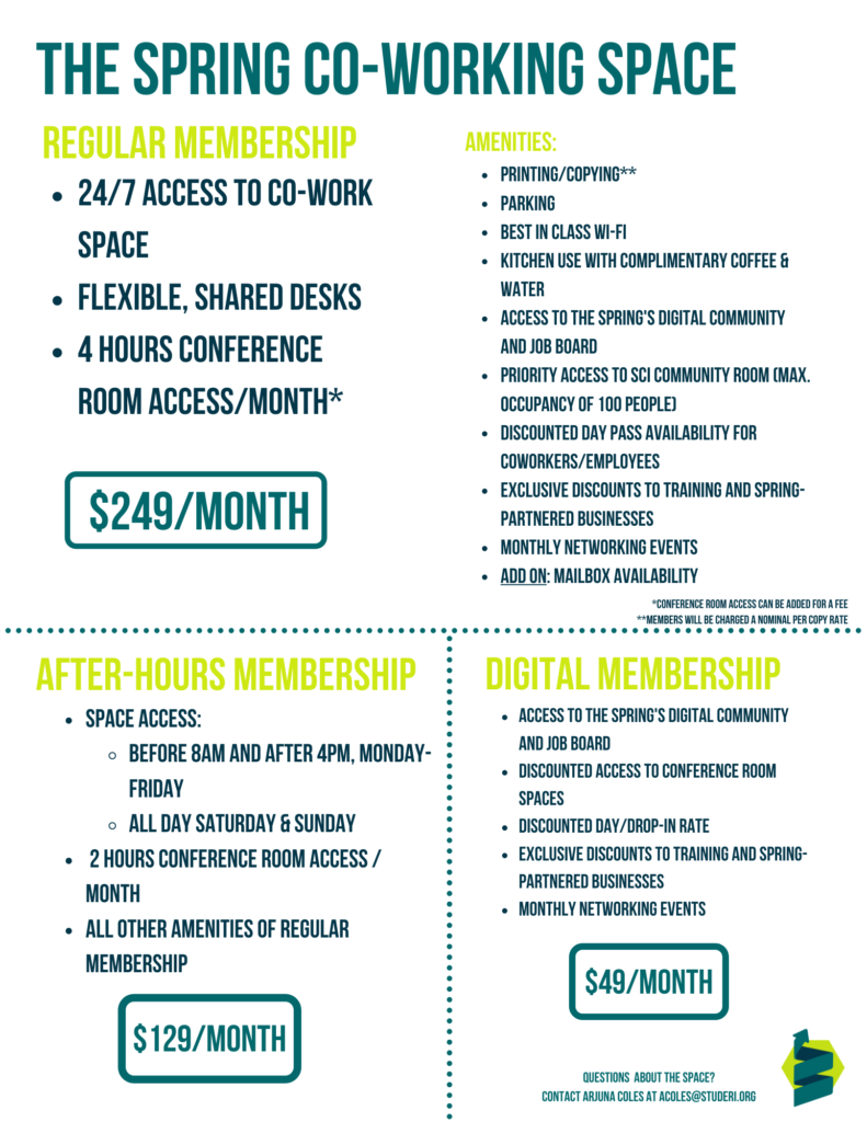 Co-Working Space Rates and Amenities_6.16.21